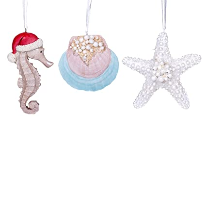 seashell starfish seahorse coastal resin christmas ornament figurines set of 3 - Seahorse Christmas Ornament