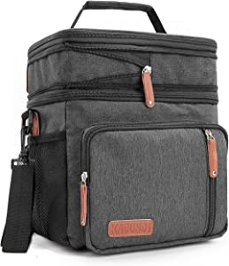 Men's Double Compartment Lunch Bag, Insulated Lunch Cooler Tote with Shoulder 2 Roomy Reusable Water-resistant Lunch Box,Black