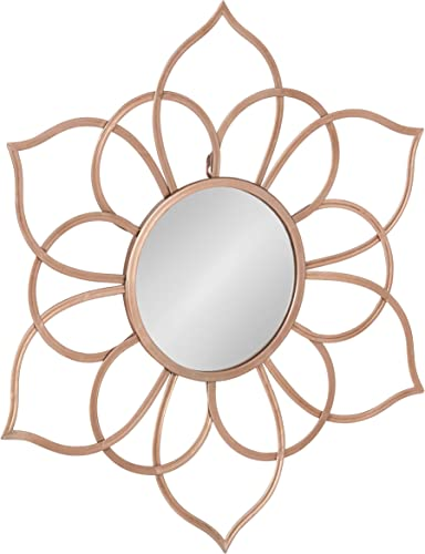 Kate and Laurel Brienne Metal Flower Round Wall Accent Mirror, Rose Gold