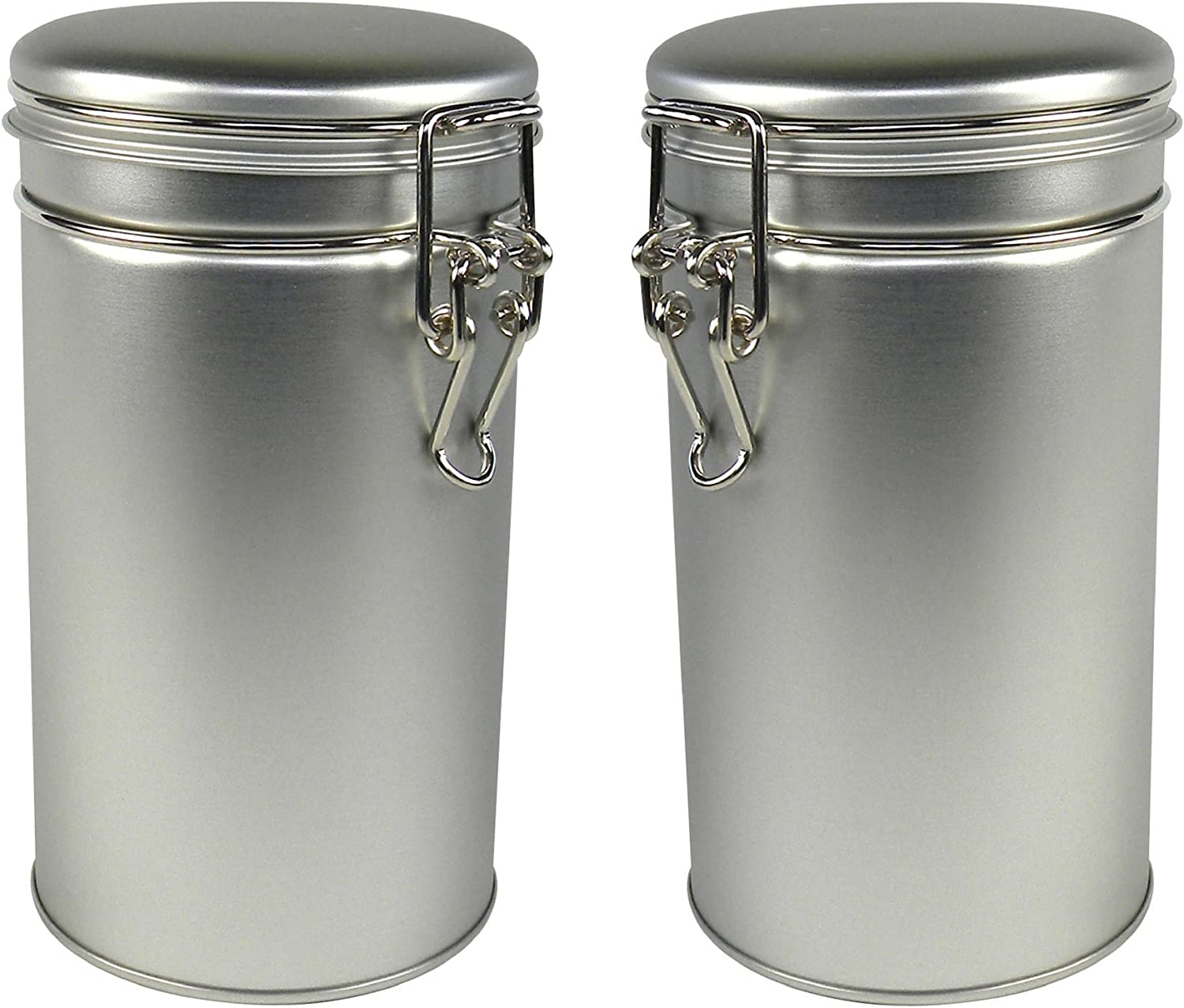 """Thistle Moon 2 PC Metal Tea Coffee and Spice Tin Set – 12 Ounce Airtight Round Cannisters with Latch Lids – 6.5"""" x 3.6"""" Containers for Tea, Herbs, or Seasoning Storage"""