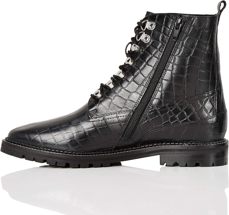 Leather Croc Biker, Women's Ankle boots
