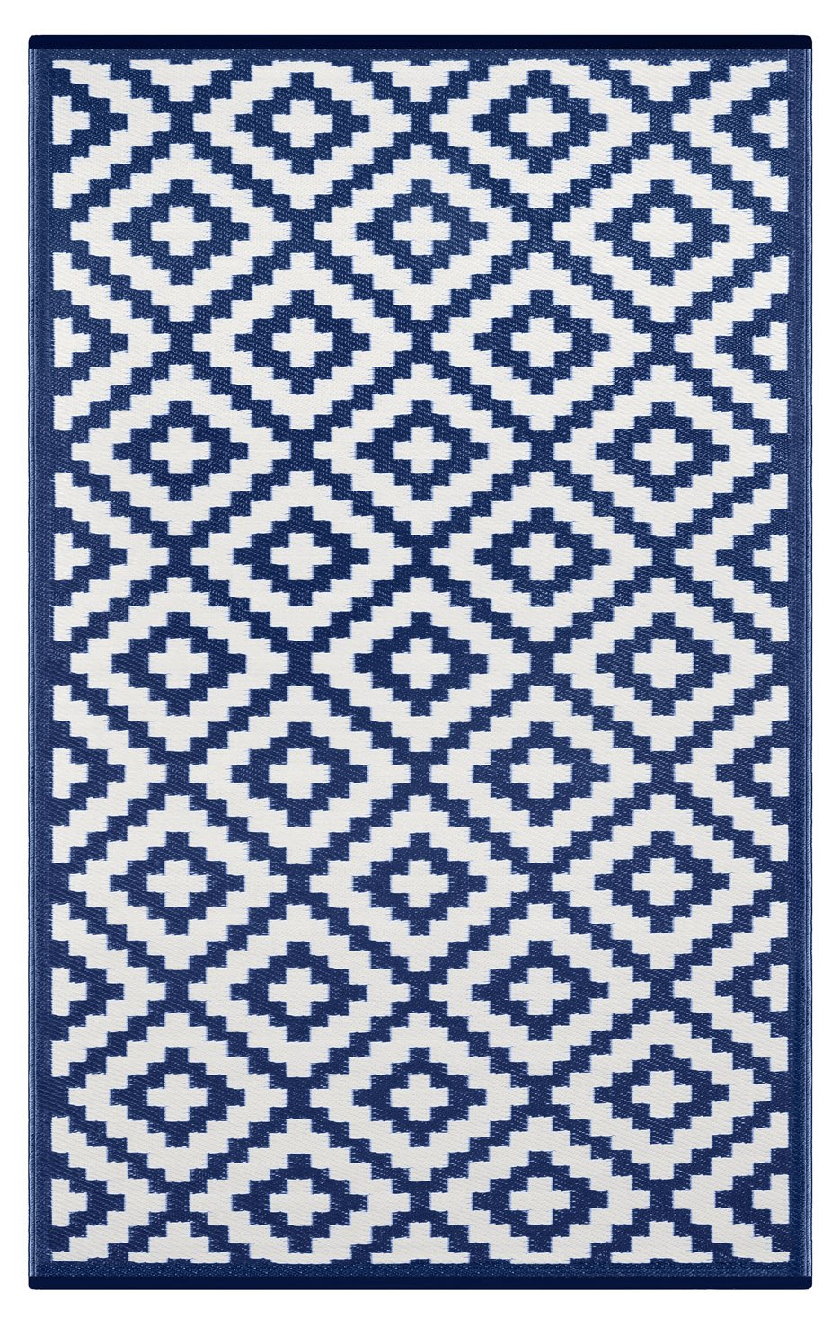 Outdoor Rug (6 X 9, Navy / White)