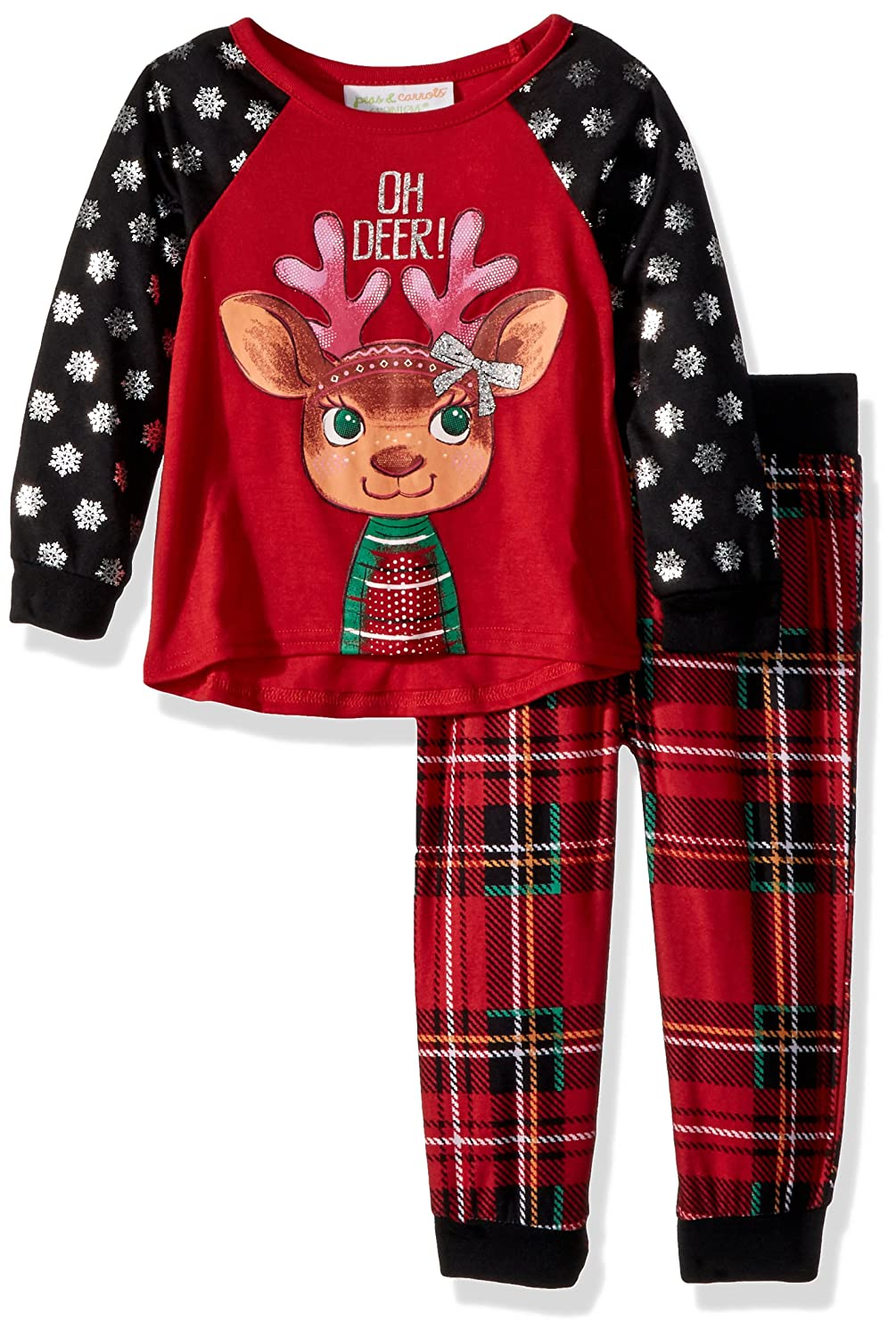 572f9e337b Amazon.com  Peas   Carrots Girls  Toddler Holiday Plaid Oh Deer 2pc Jogger  Sleep Set  Clothing