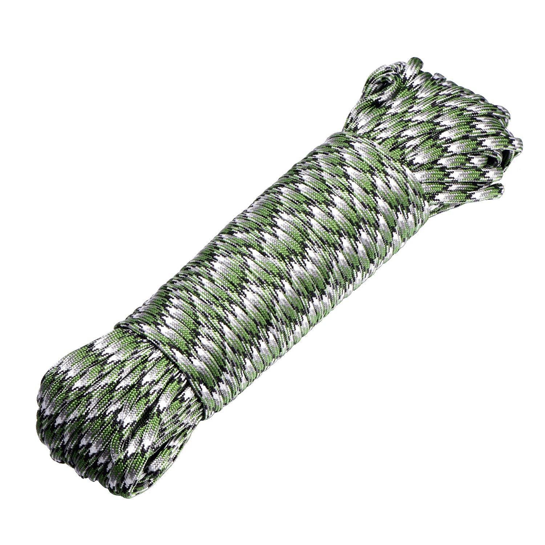DonDon Corda Paracord in Nylon Lunga 30 Metri per bricolage e attività all'Aria Aperta Spessore 4 mm 7 Fili Blu