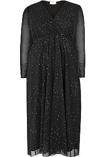 c629fd54ec Yours Clothing Women s Plus Size London Star Burst Glittery Mesh Dress
