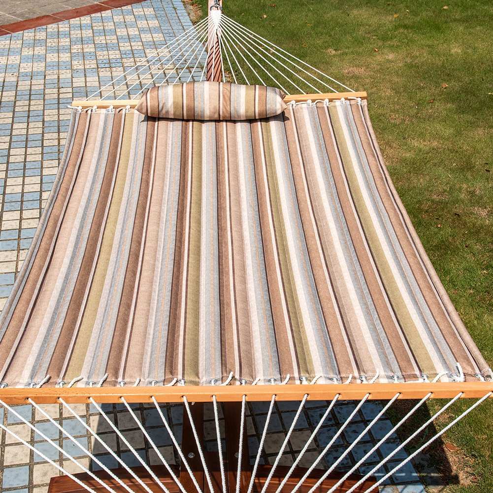 Lazy Daze Hammocks Quilted Fabric Double Size Spreader Bar Heavy Duty Stylish Hammock Swing with Pillow for Two Person Olive Green//Taupe Stripes