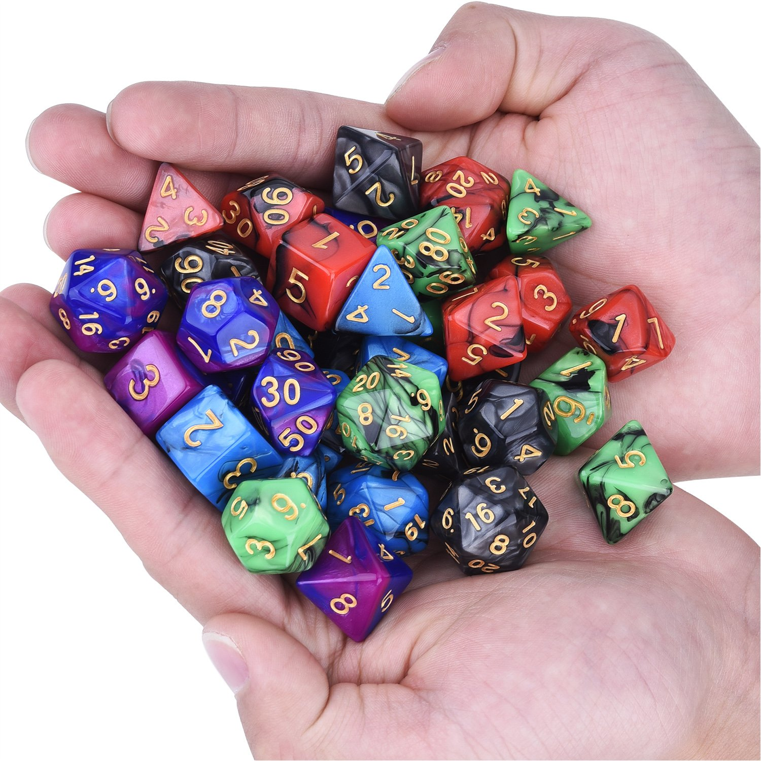 eBoot 35 Pieces Polyhedral Dice Double-Colors Polyhedral Game Dice for RPG Dungeons and Dragons Pathfinder with 5 Pack Black Pouches, 5 Sets of d20, d12, 2 d10 /(00-90 and 0-9/), d8, d6 and d4