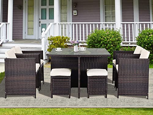 Civil Furniture 9 Piece Outdoor Rattan Conversation Set Patio Rattan Dining Set