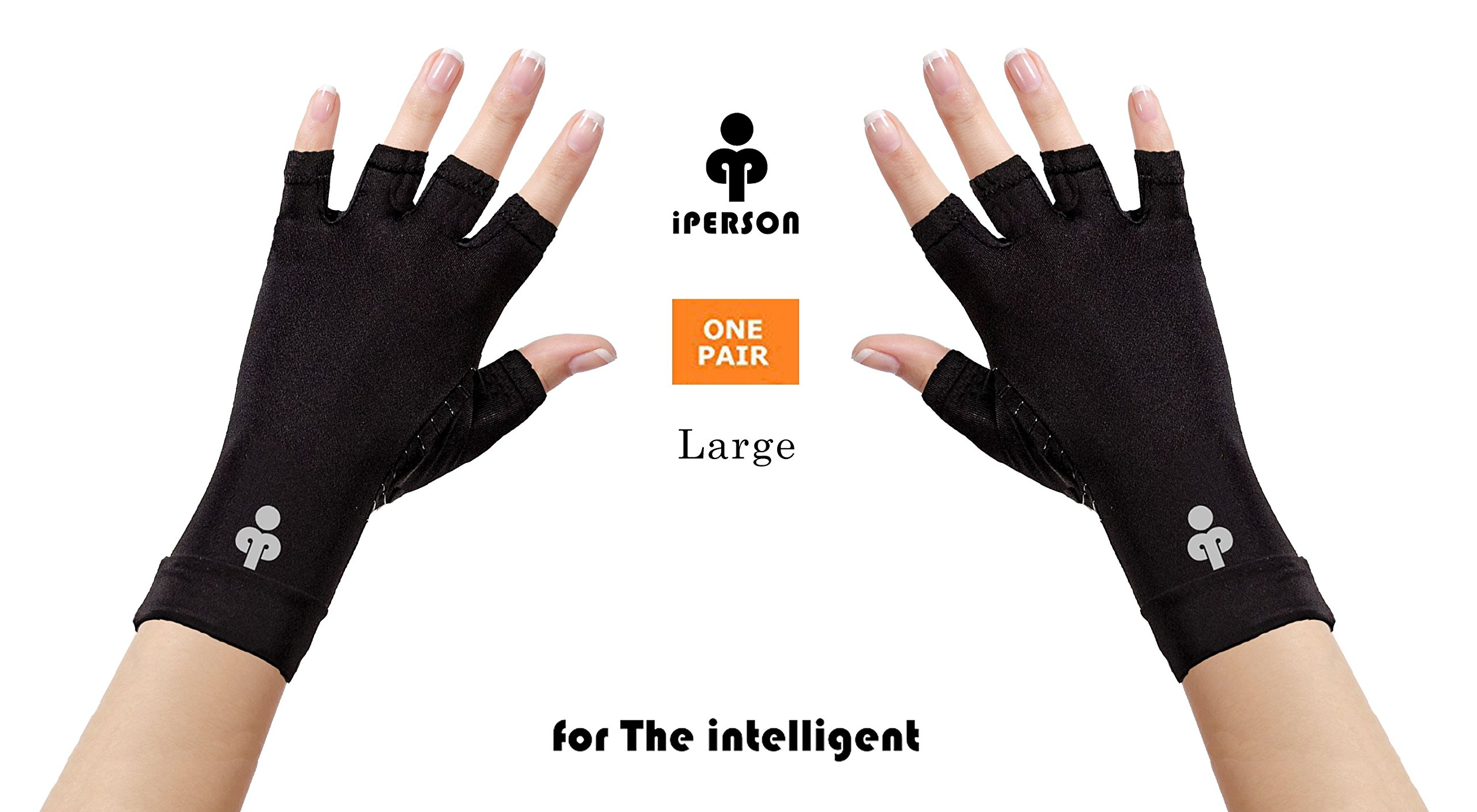 iPerson® Arthritis Gloves Copper Infused Compression GUARANTEED To Speed Up Recovery Relieve Symptoms of Arthritis RSI Carpal Tunnel Tendonitis for Men & Women - 1 Pair (Large)