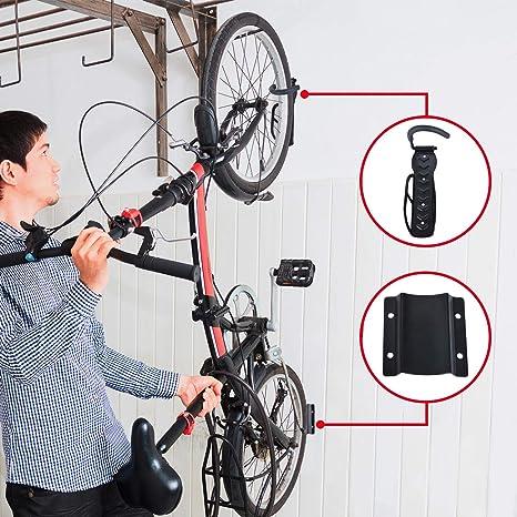 BYFIS Soporte para Colgar Bicicletas en la Pared. Colgador Vertical para Bici de hasta 30kg. Portabicicletas metálico con Gancho y Base Protectora. Fácil instalación, Accesorios incluidos.: Amazon.es: Deportes y aire libre