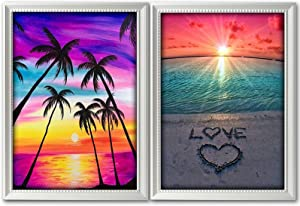 5D Diamond Painting Kits for Adults 2 Pack DIY Painting Cross Stitch Full Drill Crystal Rhinestone Diamond Embroidery Paintings for Home Wall Decor 12 x 16 Inch