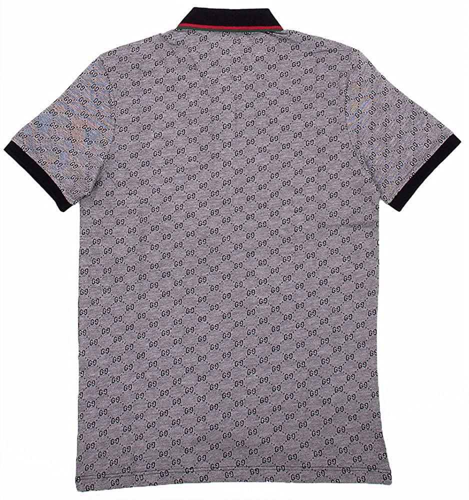 6c8d61682 Amazon.com: Gucci Polo Shirt, Mens Gray Short Sleeve Polo T- Shirt GG  Print: Clothing