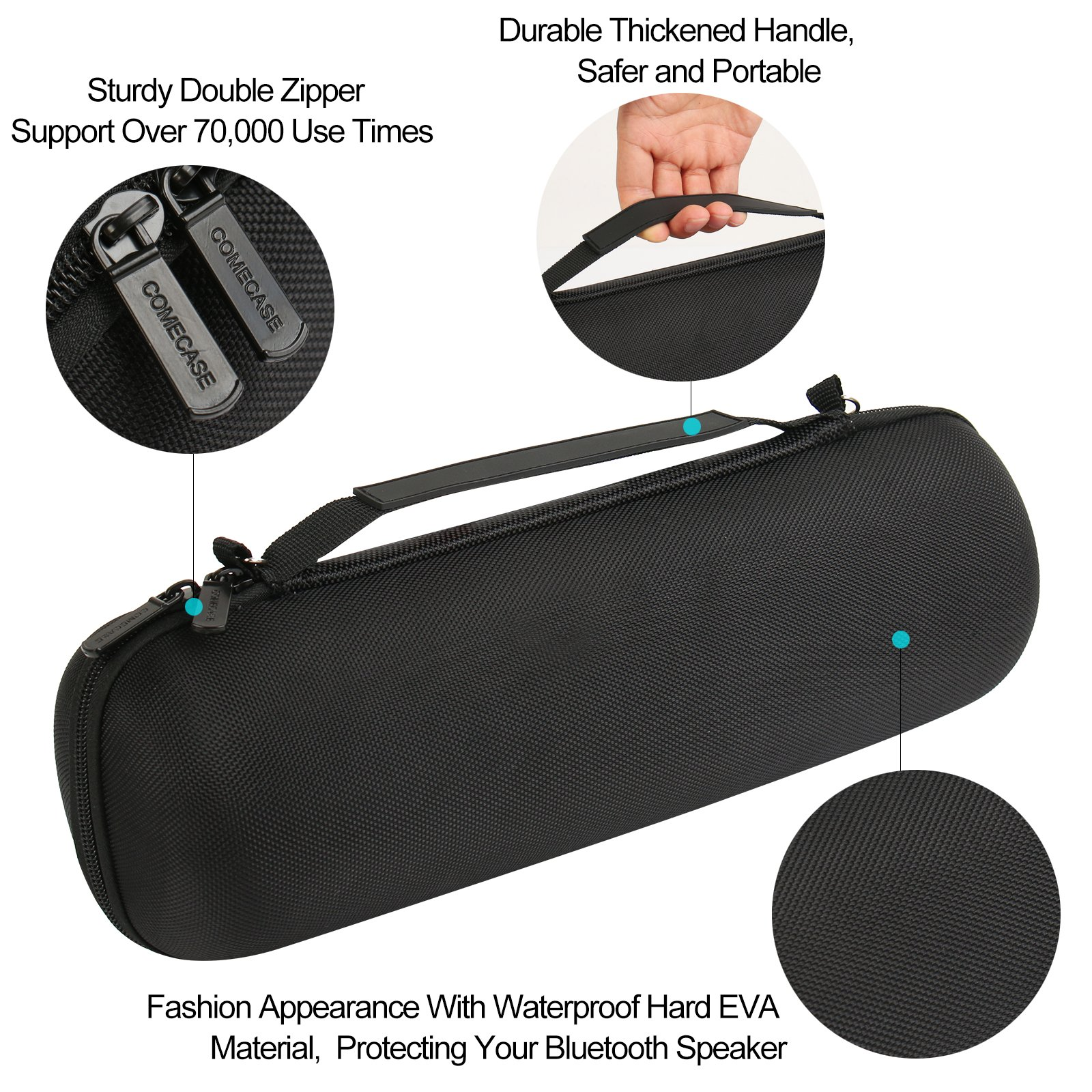 Fits USB Cable and Charger Adapter. COMECASE Carrying Case Storage for JBL Charge 3 JBLCHARGE3BLKAM Waterproof Portable Bluetooth Speaker Speaker is Not Include