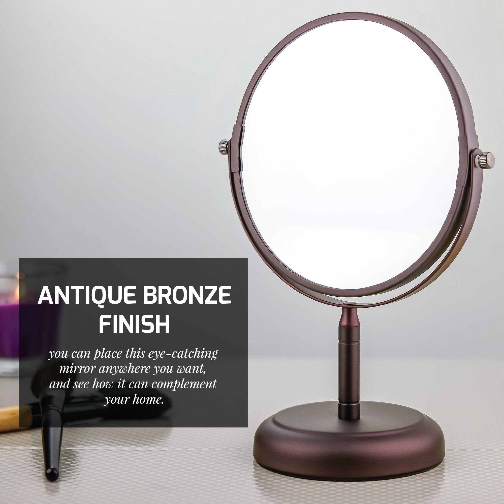 Ovente Round Tabletop Vanity Mirror, 7 Inch, Dual-Sided with 1x/5x magnification, Antique Bronze (MNLDT70ABZ1X5X) by Ovente (Image #2)