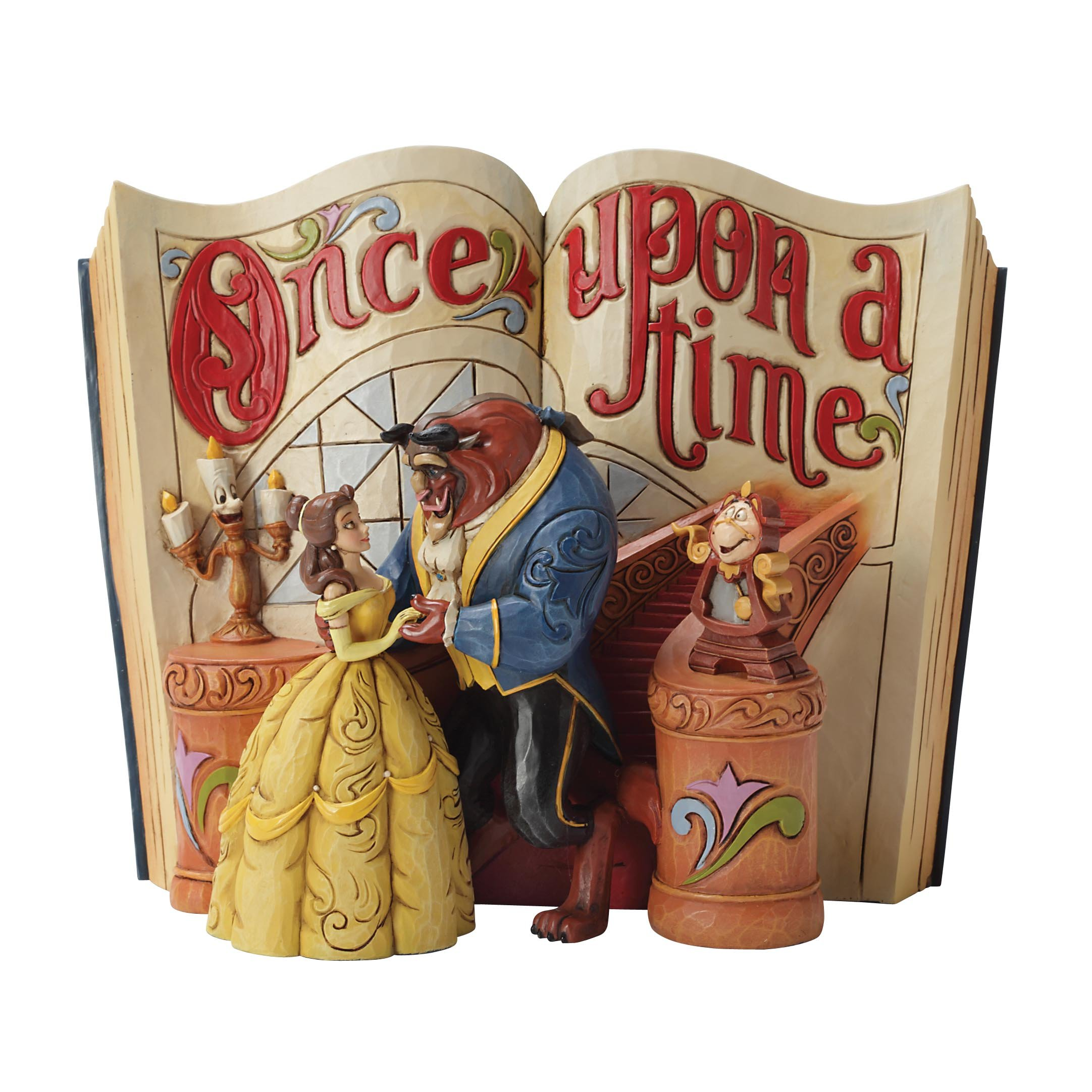 "Disney Traditions by Jim Shore ""Beauty and the Beast"" Storybook Stone Resin Figurine, 6"" by Enesco"