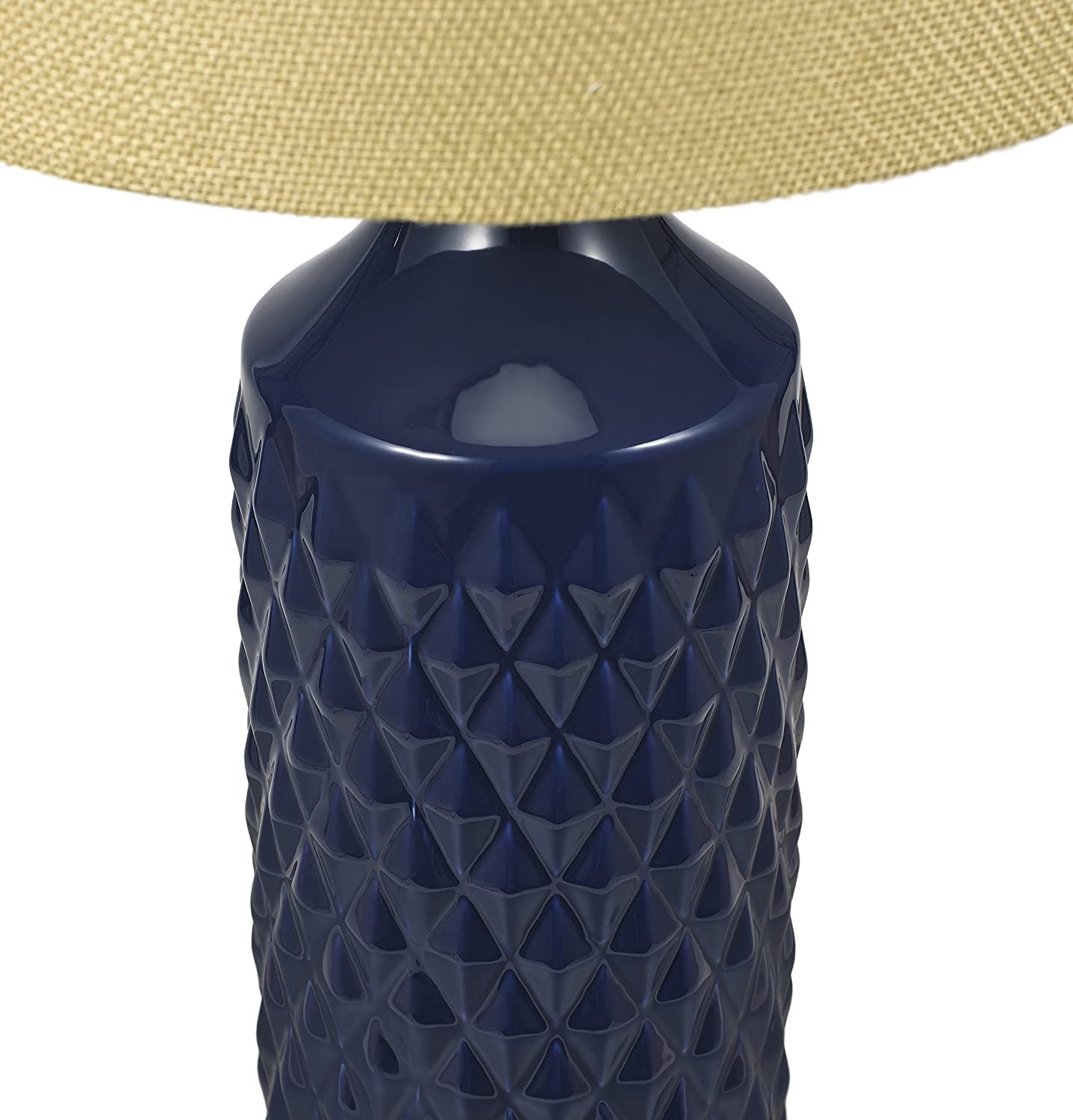 26.5 Light Blue Transitional 3-Way Geometric Quilted Ceramic Table Lamp with Linen Shade