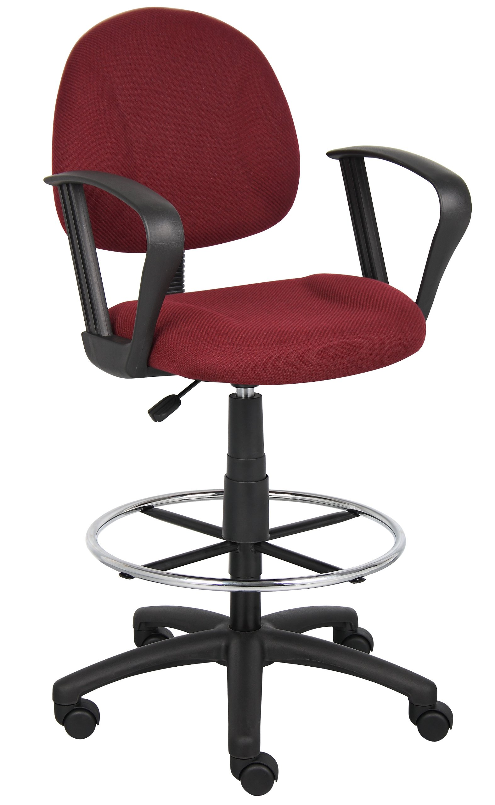 Boss Office Products B1617-BY Ergonomic Works Drafting Chair with Loop Arms in Burgundy