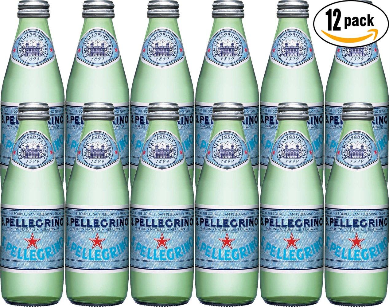 San Pellegrino Sparkling Natural Mineral Water, 8.45oz Glass Bottle (Pack of 12)