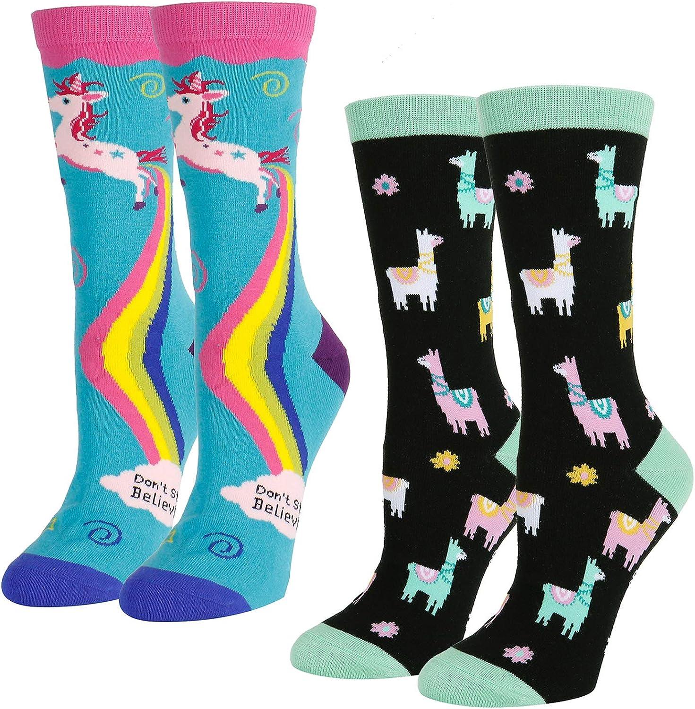 Crazy Fun Unicorn Corgi Dog Pineapple Gifts Box Women Girls Novelty Funny Socks