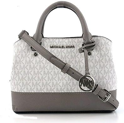 MICHAEL Michael Kors SM Savannah Satchel bag Crossbody Bright White Grey