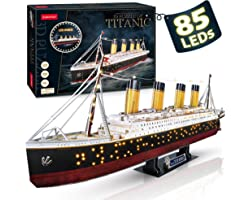 CubicFun LED 3D Puzzle Titanic Ship 3D Puzzles for Adults RMS Toys Model Kits 34.6'', Difficult Watercraft Jigsaw Family Puzz