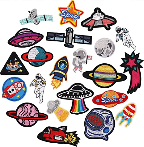 ATRONAUT Iron On Embroidered Patch Children Outer Space