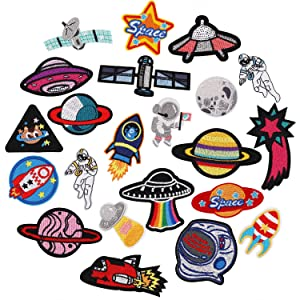 22pcs Space Planet Astronaut Iron on Patches Embroidered Motif Applique Decoration Sew On Patches Custom Patches for DIY Jeans, Jacket,Kid's Clothing, Bag, Caps, Arts Craft Sew Making (Space 22pcs)