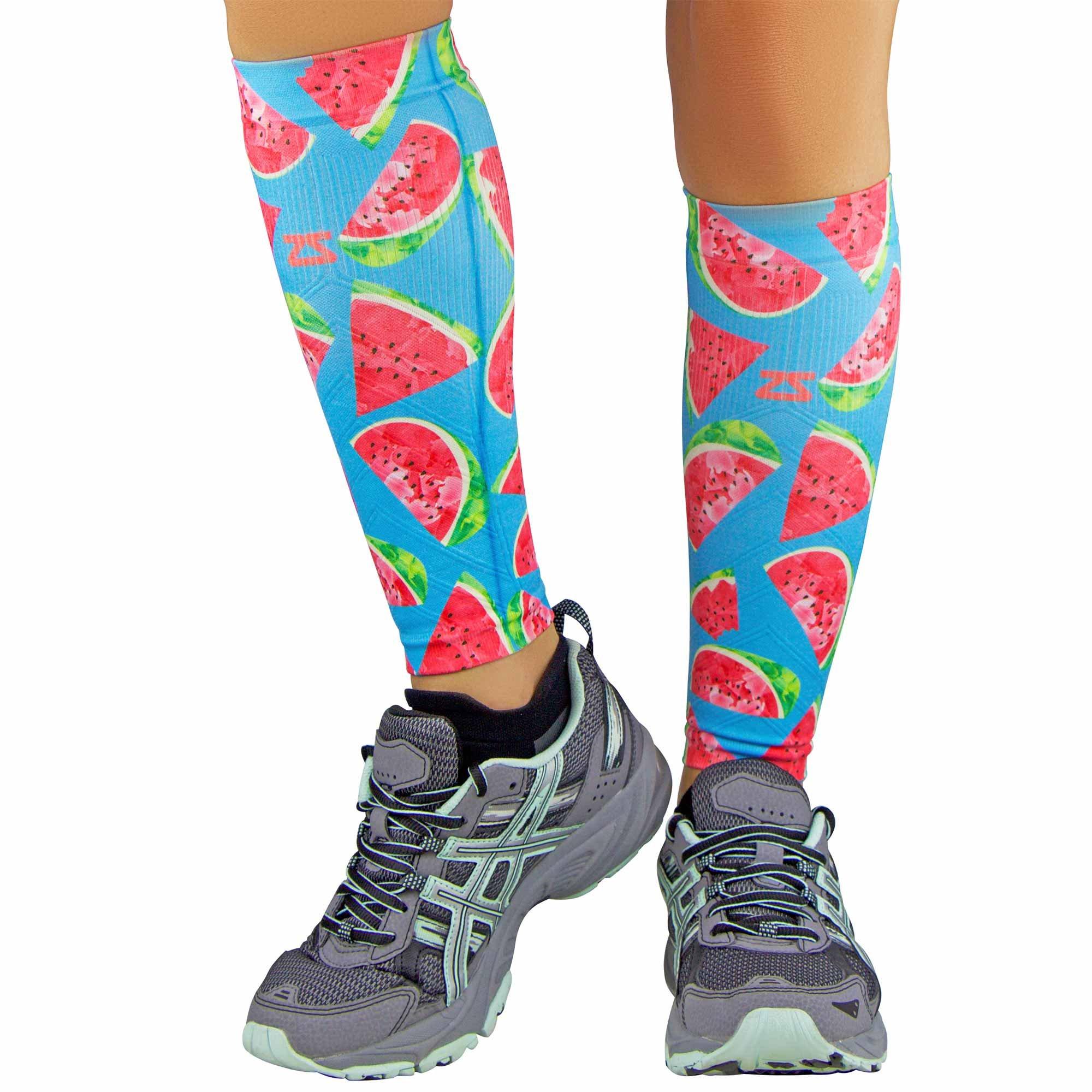 Zensah Print Compression Leg Sleeves - Watermelons // Aqua - S/M by Zensah