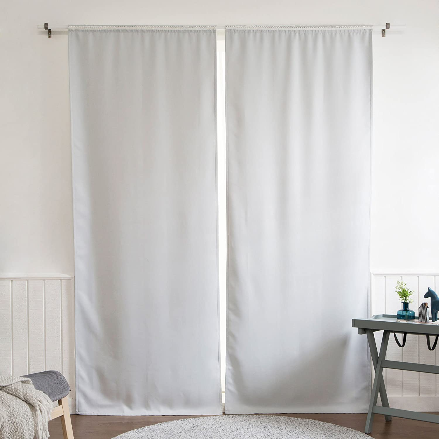 "Best Home Fashion Blackout Rod Pocket Curtain Liner Panel Pair – Rod Pocket – Off White – 35"" W x 120"" L – (Set of 2 Panels)"