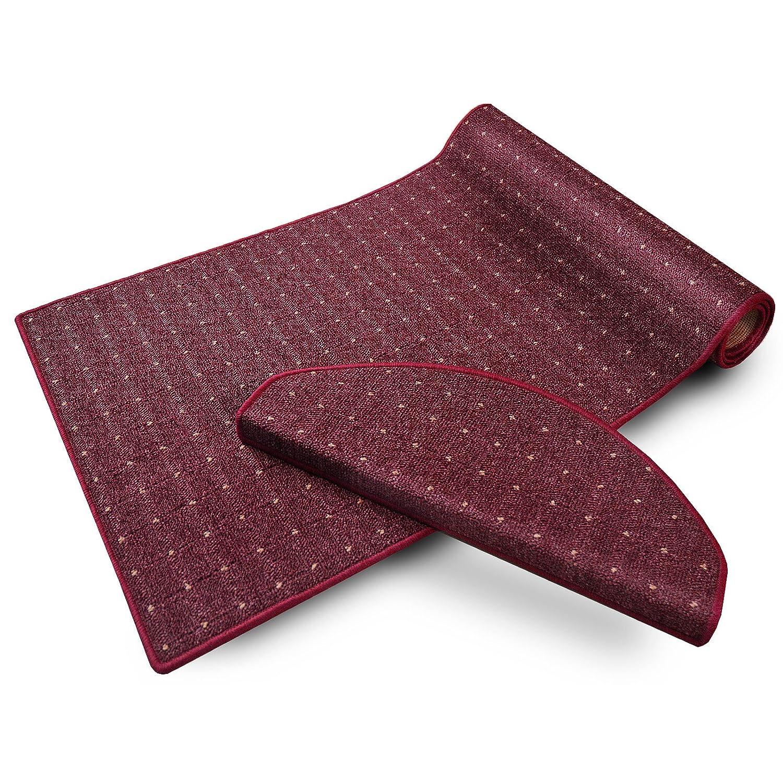 Casa pura Teppich Läufer in zahlreichen Größen   mit Punkt Muster   GUT-Siegel, Made in Germany   kombinierbar mit Stufenmatten   Flieder Bordeaux rot (Größe  100x525 cm) B01F96AXOC Lufer