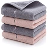 Etech フェイスタオル タオル 74x34cm 綿100% 4枚セット(2色でGray&Pink) 瞬間吸水 速乾 抗菌防臭 家庭/ホテル/スポーツなどに最適 柔らかな肌ざわり 贈答品 (2色)