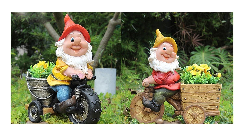 Design zwerg 36 cm hoch mit blumentopf bl15156 fahrrad for Acheter un nain de jardin
