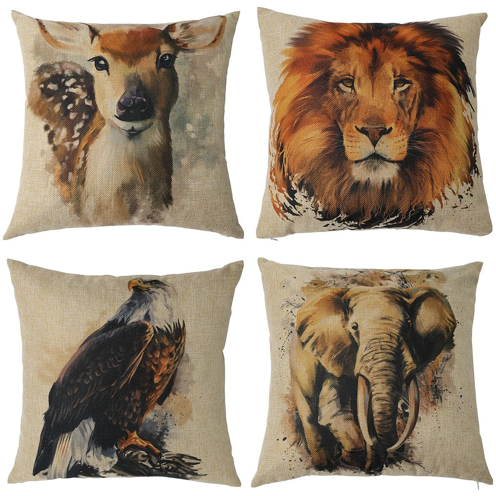 Kate 4 Packs Decorative Pillow Covers 18 x 18 Inches Hand-Painting Animal Series Cotton Linen Blend Throw Pillow Cases Home Decor Cushion Cover (Set of 4)