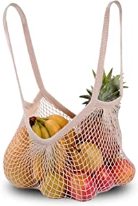 DimiDay Cotton Net Shopping Bag Ecology Market String Bag Organizer-for Grocery Shopping & Beach, Storage, Fruit, Vegetable and Tosys (Large-Size Long Handle)