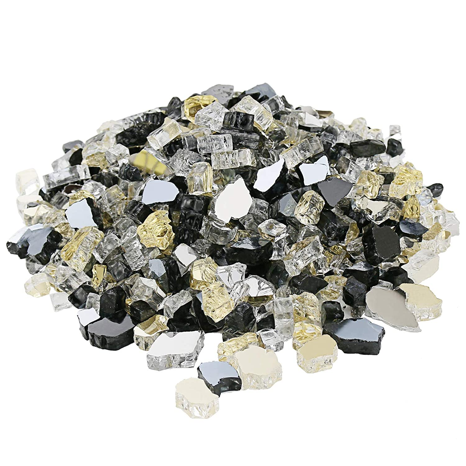 Hisencn Blended Fire Glass for Fire Pit, 10 Pound, 1/2 Inch Tempered Glass Rocks for Natural or Propane Gas Fireplace, Indoor & Outdoor Fire Bowls, Landscape Onyx Black, Platinum, Gold Reflective