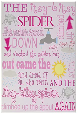 The Kids Room by Stupell The Itsy Bitsy Spider Nursey Rhyme on Pink Background Rectangle Wall Plaque