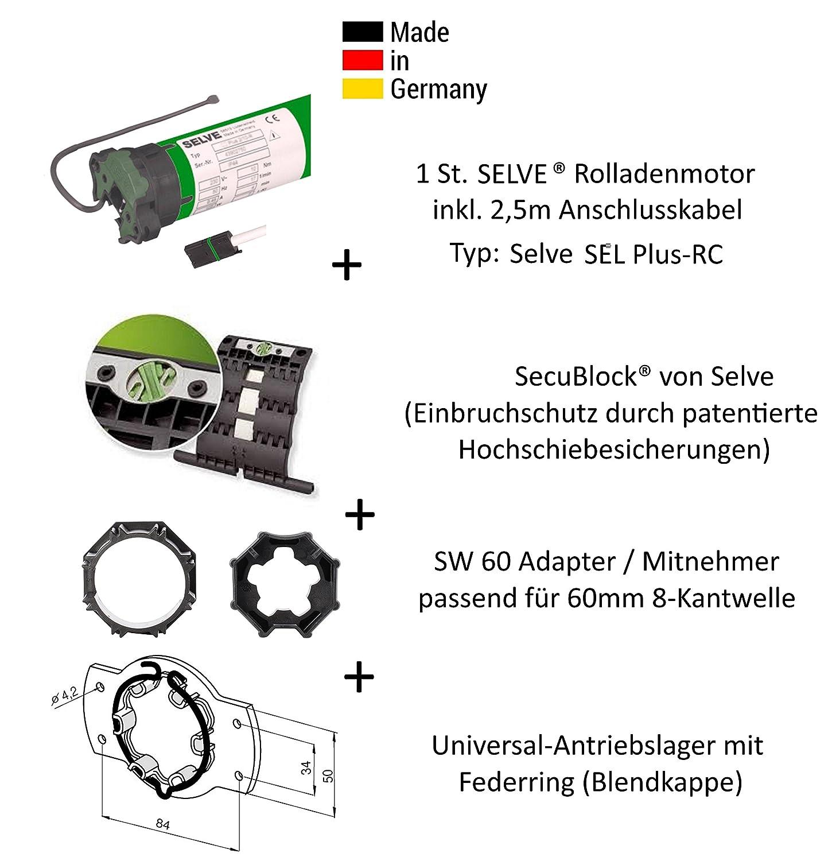Selve - ® SEL de Plus de RC 2/10 3T-MOTORS - Motor con protección antirrobos mediante patentada Secu bloque®, rodamiento de motor, cable de conexión y SW 60 ...
