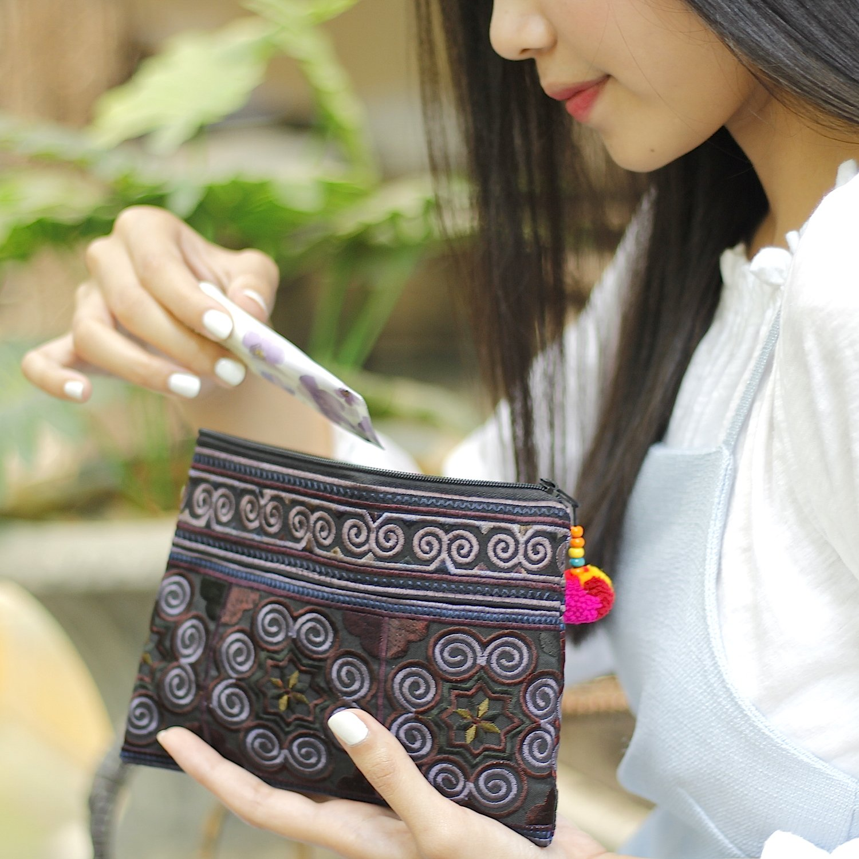Sabai Jai Handmade Cosmetic Makeup Pen Coin Pouch Embroidered Boho Clutch Handbag Purse (Black) by Sabai Jai (Image #3)