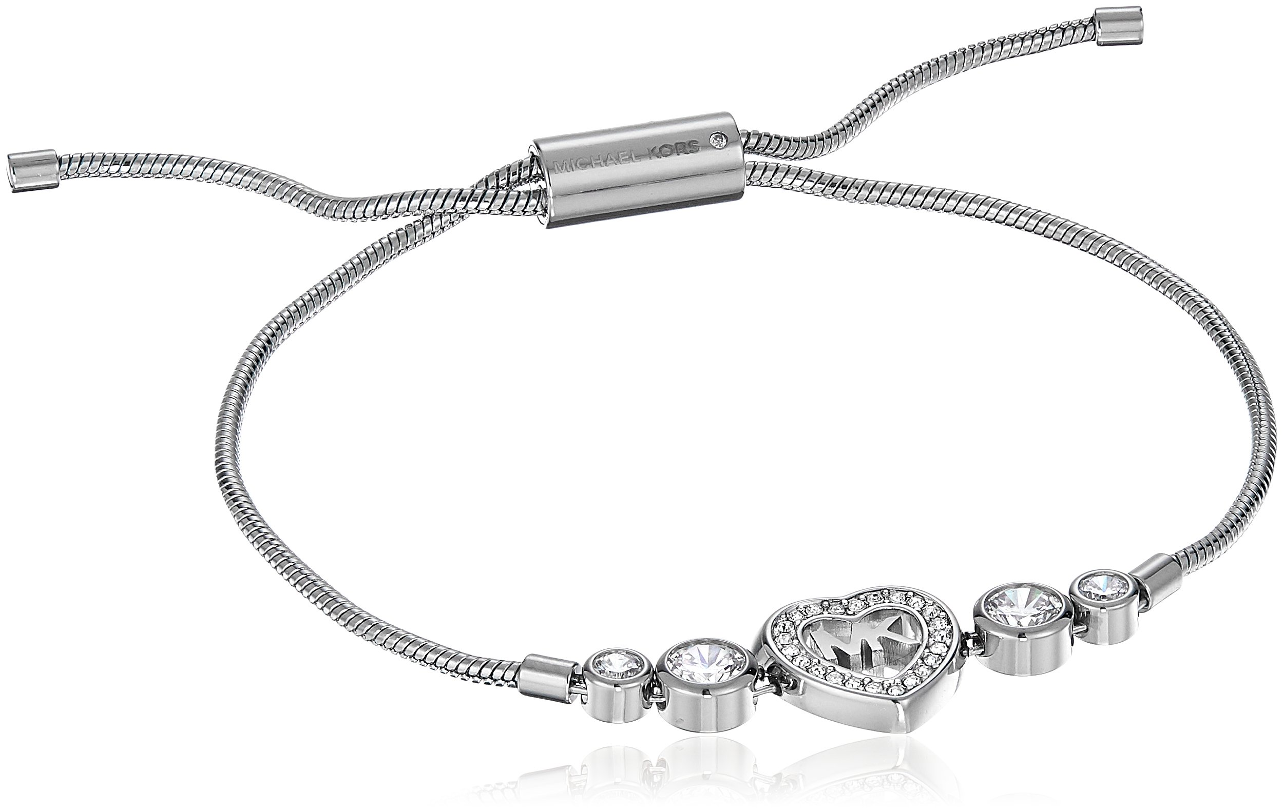 Michael Kors Womens Silver-Tone Heart Link Charm Bracelet, One Size