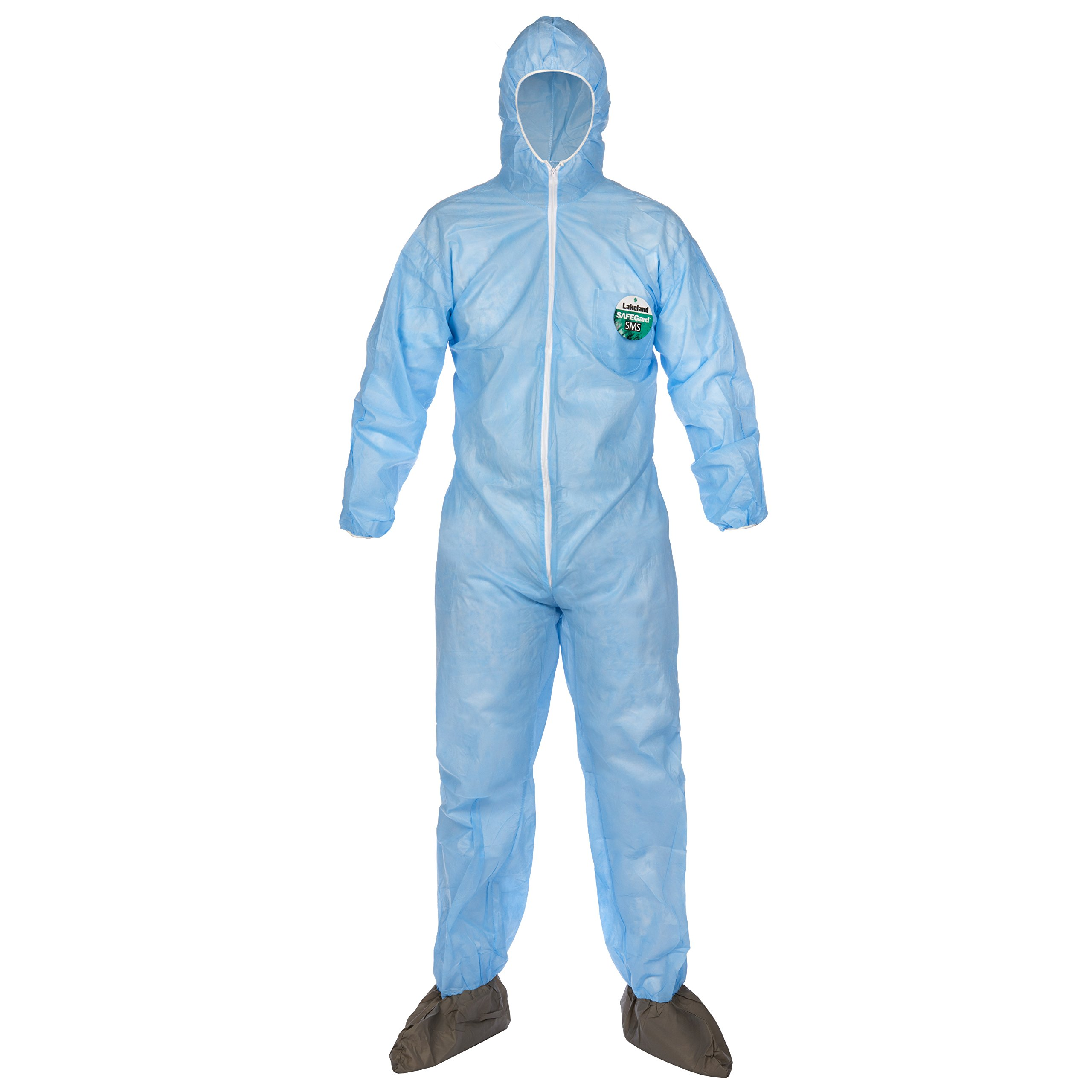 Lakeland SafeGard SMS Polypropylene Coverall with Hood and Boots, Disposable, Elastic Cuff, Small, Sky Blue (Case of 25)