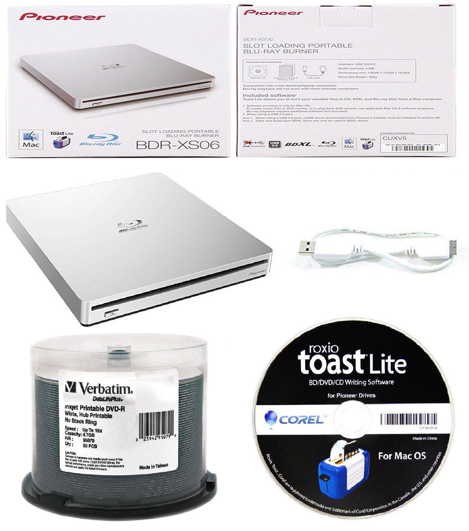 Pioneer 6x BDR-XS06 Slim Slot Portable External Blu-ray BDXL Burner, Roxio Toast Lite Software and USB Cable Bundle with 50pk DVD-R Verbatim 4.7GB 16X DataLifePlus White Inkjet, Hub Printable