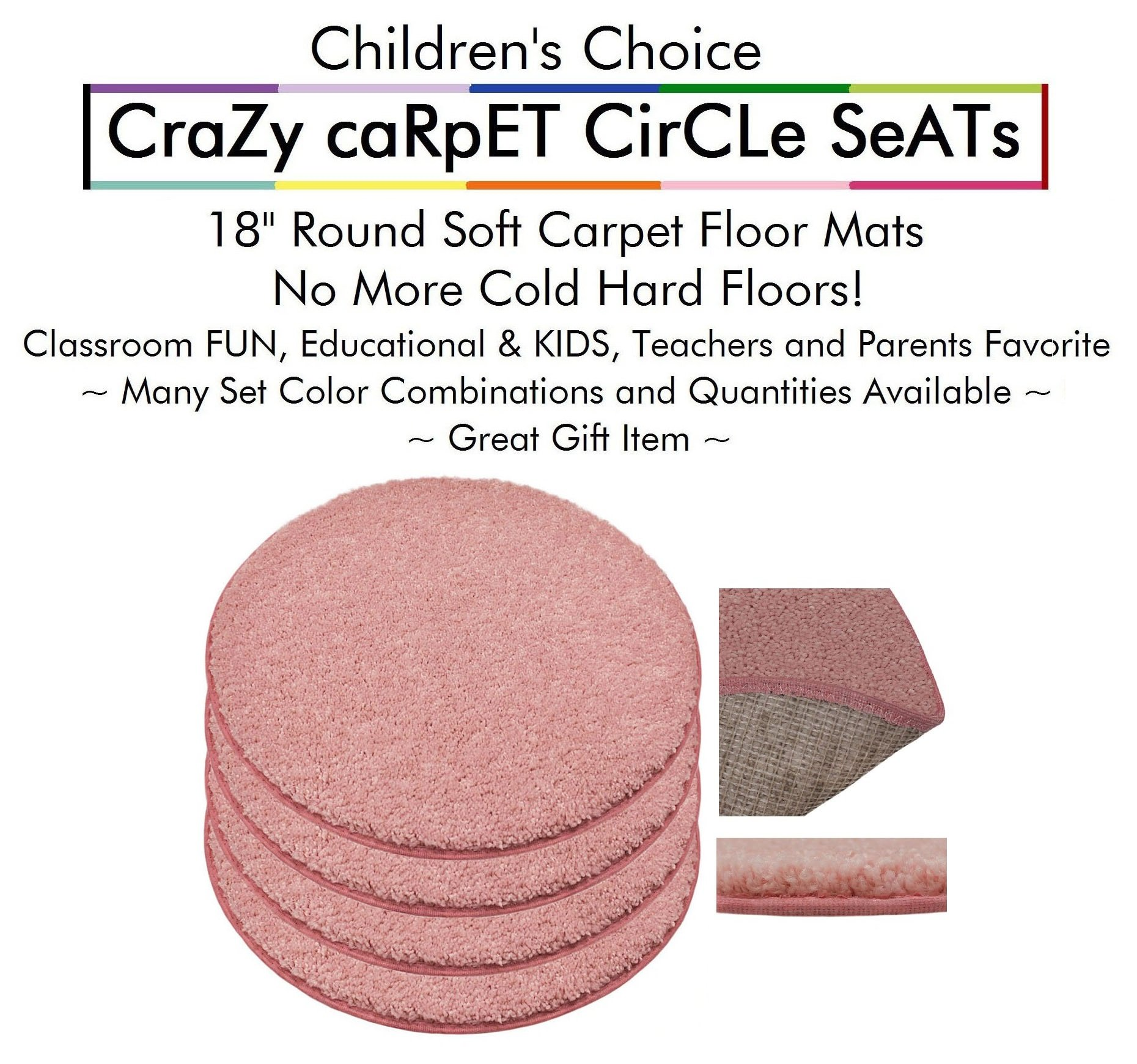"""Set 4 - Fairy Dust Kids CraZy CarPet CirCle SeaTs 18"""" Round Soft Warm Floor Mat - Cushions   Classroom, Story Time, Group Activity, Time-Out Spot Marker and Fun. Home Bedroom & Play Areas"""
