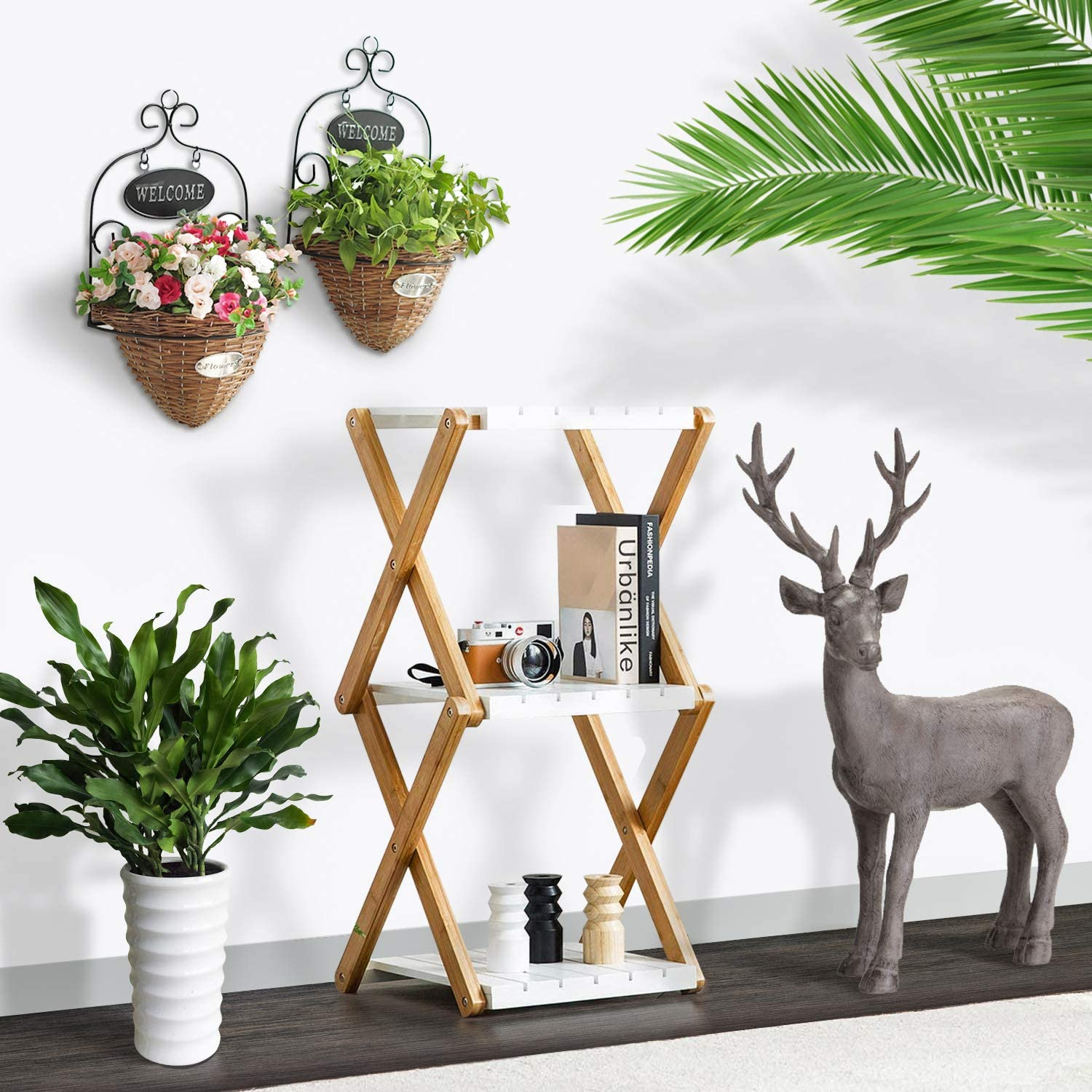 Nnewvante Shelving Unit Foldable Tiered Display Shelves Stand Bamboo Wood Open Storage Shelf Rack Slim Bookshelf Stand for Home Office White-3 Tier