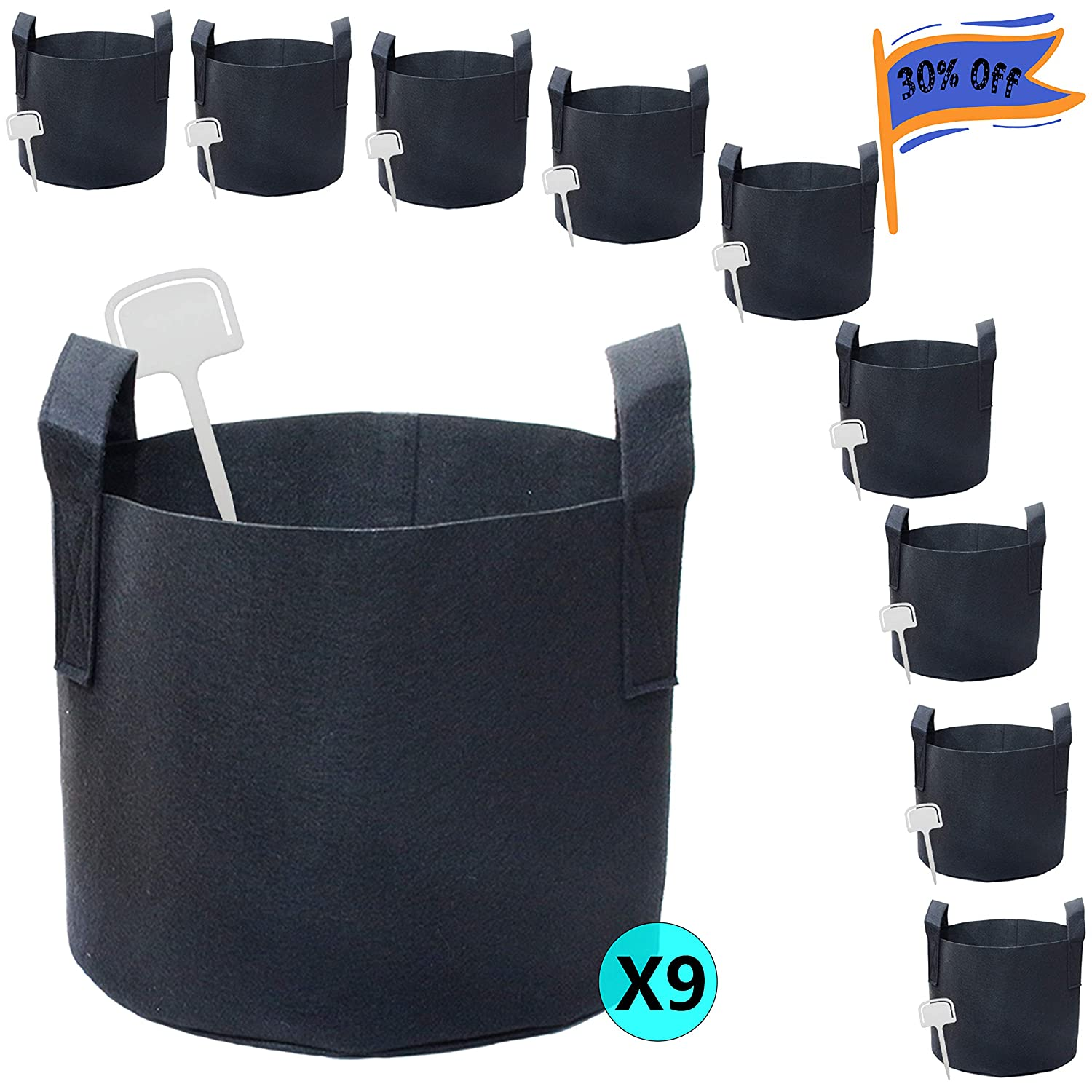 PHYEX 9-Pack 10 Gallon Nonwoven Grow Bags, Aeration Fabric Pots with Durable Handles, Come with 9 Pcs Plant Labels