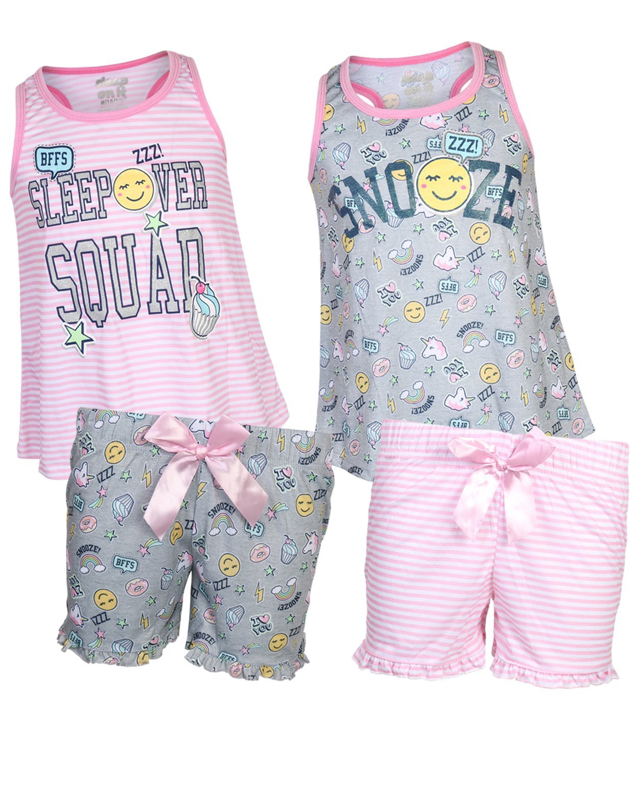 Sleep On It Girls 4-Piece Summer Pajama Short Set (2 Full Sets) Snooze, Size 10/12'