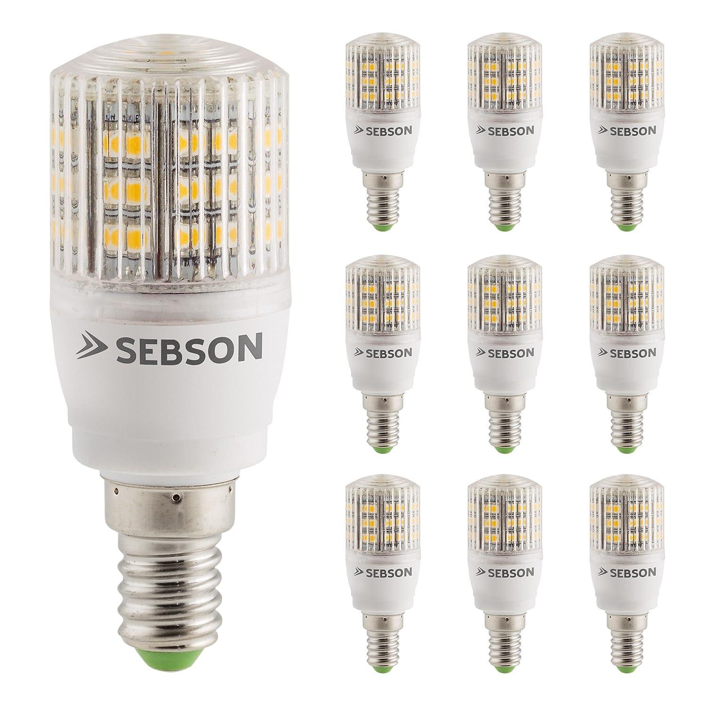 Sebson - 10 Bombilla X E14 3W Led (Pari A 25W), 240 Lumen, Blanco Caliente, Led Smd, Ángulo Propagación De 160 °: Amazon.es: Iluminación