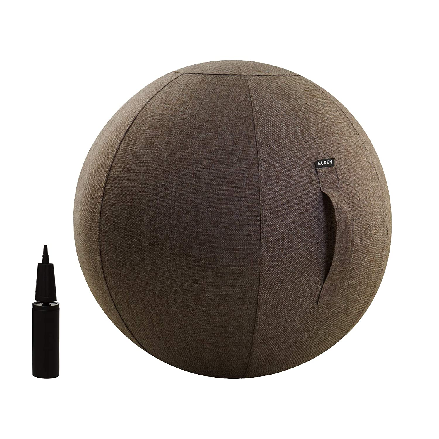 (75cm, Chocolate)  Guken Sitting Ball Chair with Cover MultiPurpose Yoga Exercise Ball Stability, Fitness and Birthing Ball with Inflator and Handle