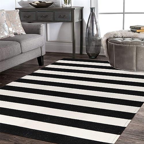 LEEVAN Cotton Print Area Rug 4 x 6 Black and White Striped Doormat Machine Washable Woven Fabric Non-Slip Doormat