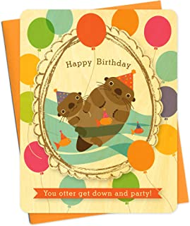 product image for Night Owl Paper Goods Otter Portrait Wood Birthday Card