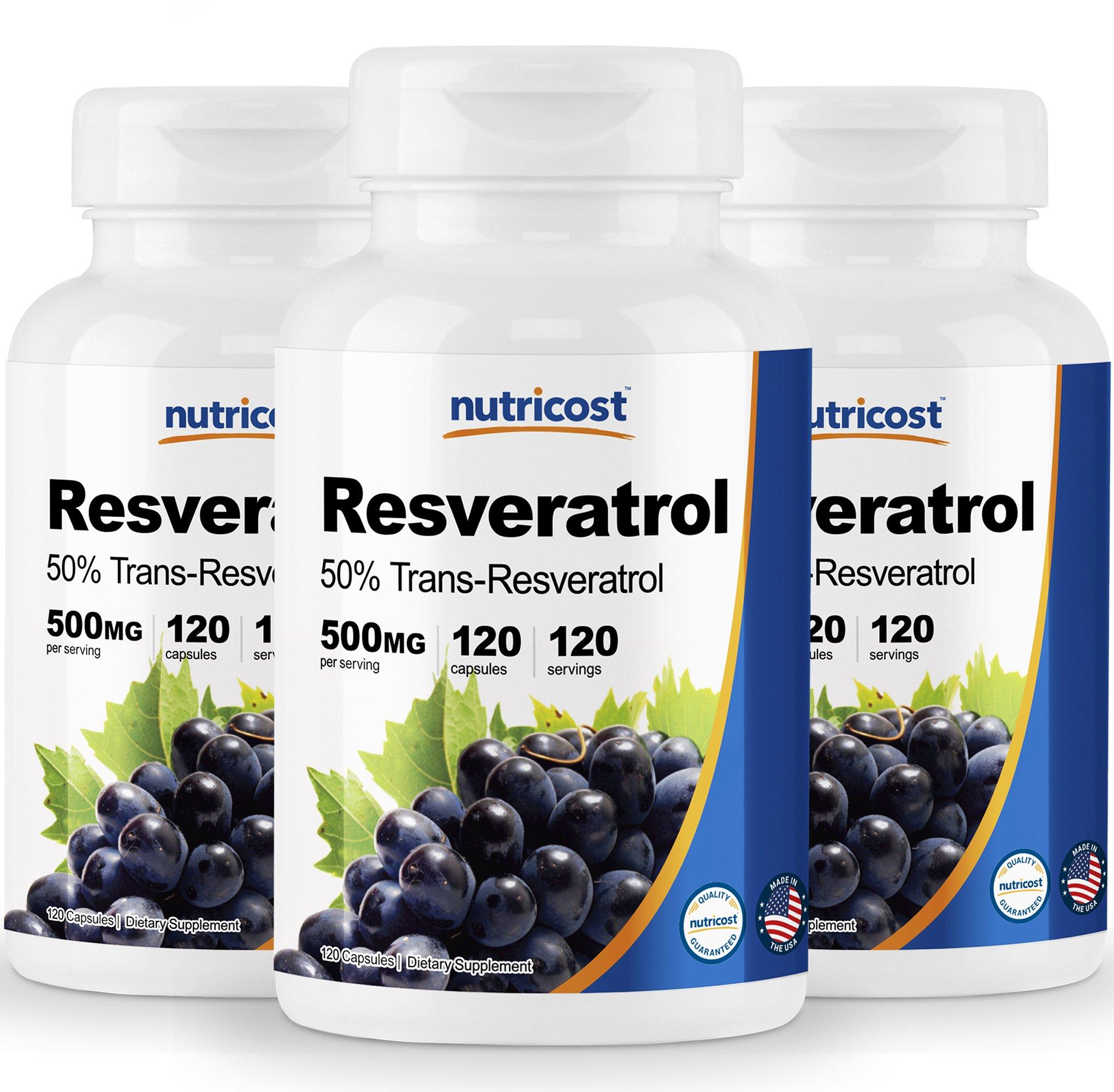Nutricost Resveratrol 500mg; 120 Capsules - 50% Trans-Resveratrol (3 Bottles) by Nutricost